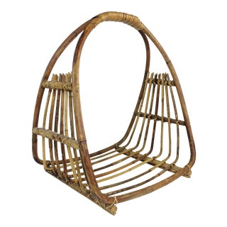 Mid-Century Wicker Magazine Basket