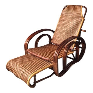 Vintage Rattan Bamboo Reclining Deck Chair