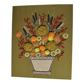 Vintage Fall Floral Embroidery Crewel Art