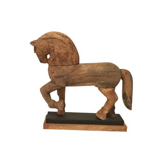 Carved Wooden Horse on Stand