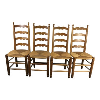 Ladder Back Carved Wood & Rattan Side Chairs - Set of 4
