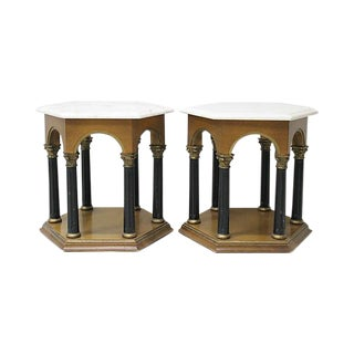 Neoclassical Marble End Tables