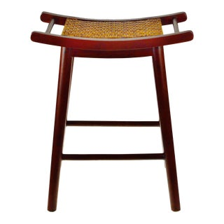Asian Inspired Solid Mahogany and Hand Woven Rattan Counter Stool