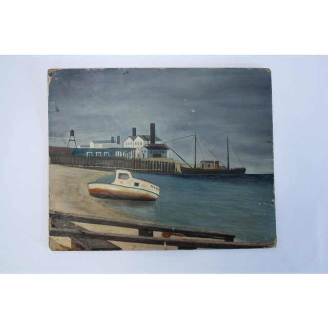 Image of Vintage Nautical Painting on Board