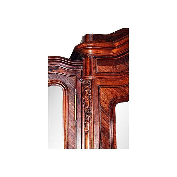 Antique French Rosewood 3-Door Armoire - Image 7 of 7