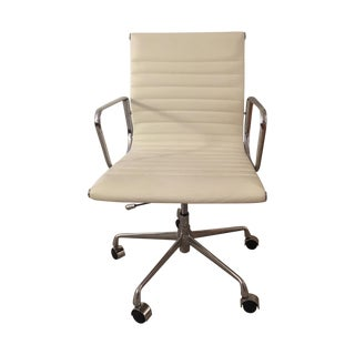 Eames Style White Leather Office Chair