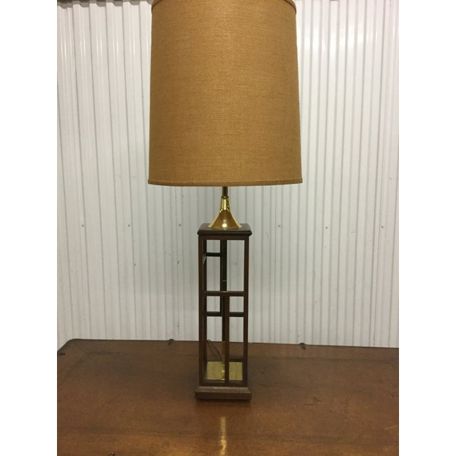 Image of Large Modernist Walnut and Brass Table Lamp