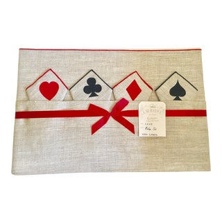Vintage Game Table Size Tablecloth & Napkins - Set of 5
