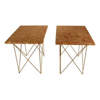 1950s Italian Marble and Brass End Tables - A Pair