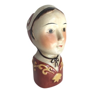 Folk Lady Head Vase