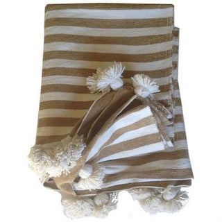 Beige & White Moroccan Throw With Tassels