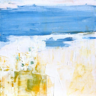 Blue & White Abstract Original Oil Painting by Paul Ashby