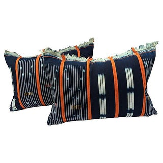 African Indigo Textile Pillows - Pair