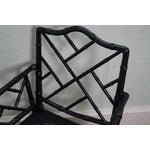 Image of Black Faux Bamboo Chippendale Arm Chairs - A Pair