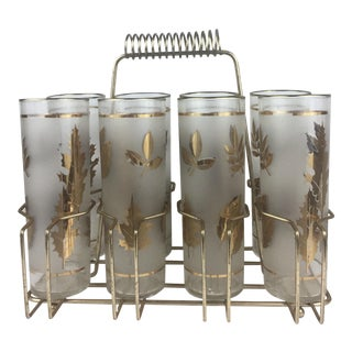C.1950s Frosted Glasses With Wire Carrier - Set of 7
