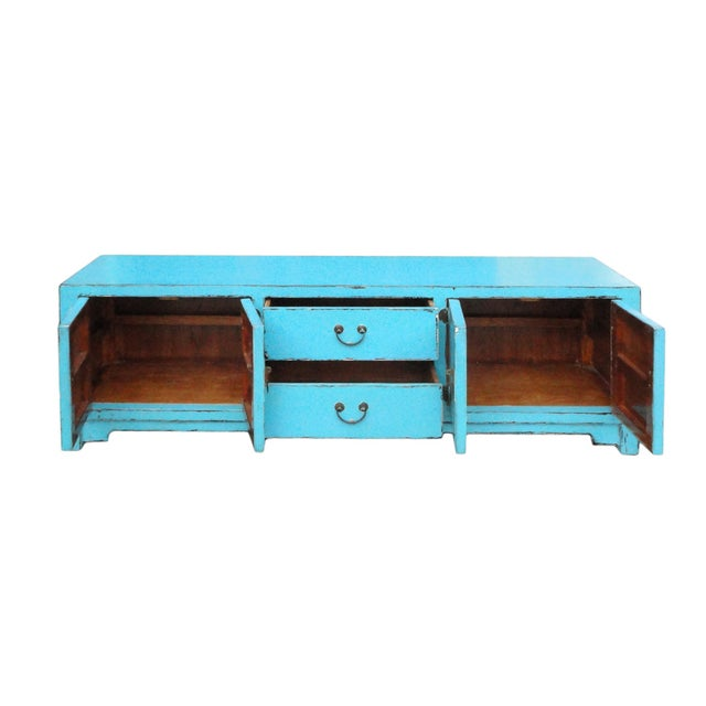 Image of Chinese Oriental Rustic Light Blue Low Console