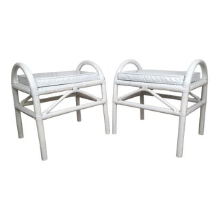 White Rattan Stools With Patent Seats - A Pair
