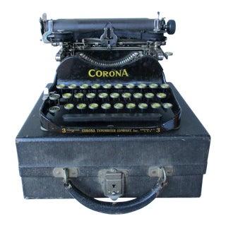 Antique Corona Folding Portable Typewriter With Case
