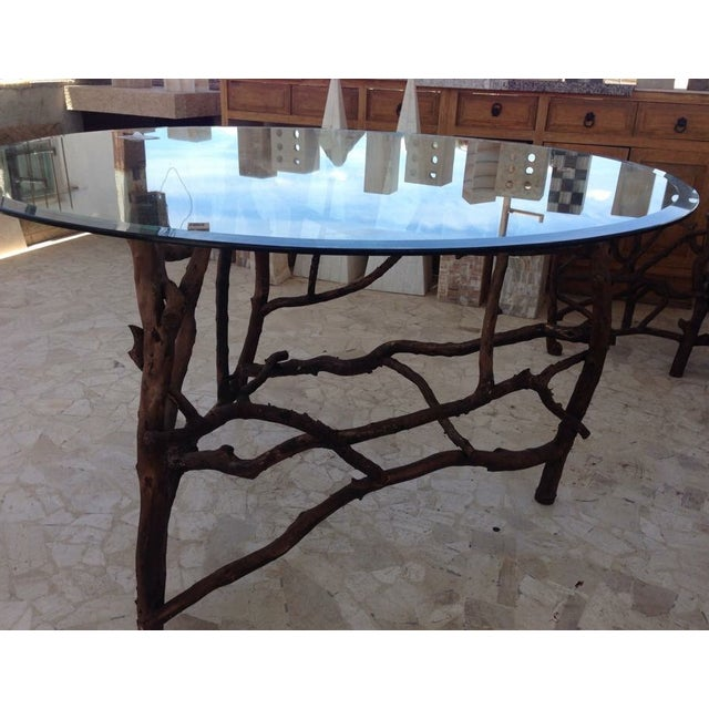 Rift Wood and Glass Round Dining Table - Image 3 of 5
