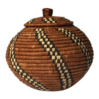 Boho Tribal Woven Lidded Basket