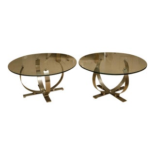 Pair of Round Mid-Century Stainless Steel and Glass Occasional Tables