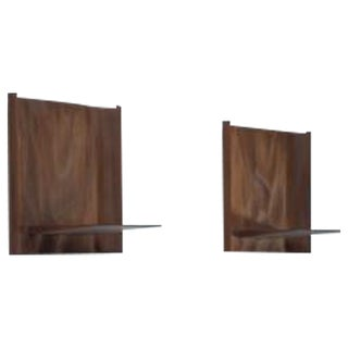 Roger Sloan Pair of Sculptural Walnut Wall Shelves, USA, 1970s
