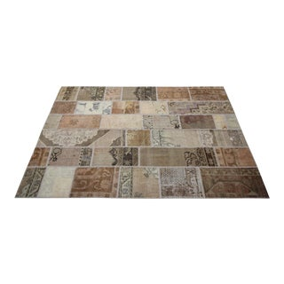 Vintage Turkish Over-dyed Patchwork Oushak Rug - 6′8″ × 10′