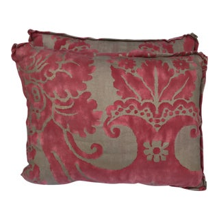 Transitional Fortuny Pink & Metallic Gold Pillows - A Pair