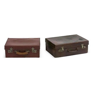 English Leather Suitcases - A Pair