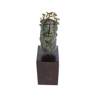 Mid-Century Bust Sculpture on Wood Block