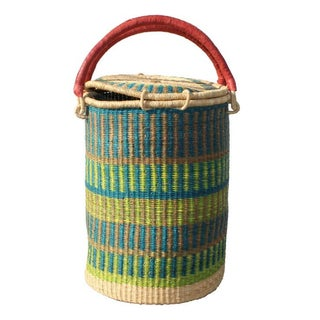 Tall African Woven Grass Basket w/ Lid Teal & Blue
