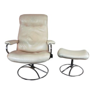 Norwegian Ekornes Stressless Ivory Leather Lounge Chair & Ottoman