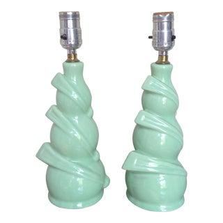 Mid-Century Green Ceramic Table Lamps- A Pair