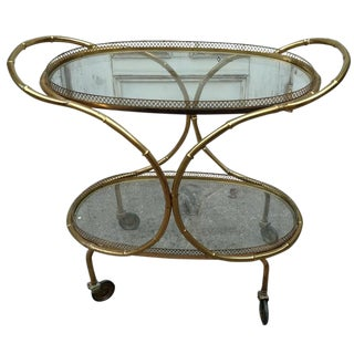 Brass Venetian Faux-Bamboo Bar Cart