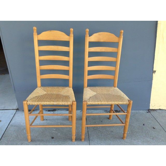 Image of Rush Seat Ladder Back Chairs - A Pair