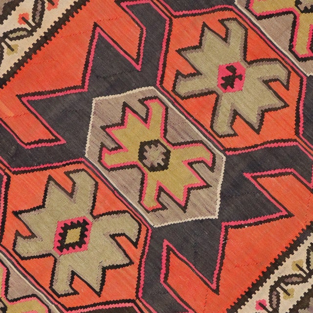 "Vintage Persian Shiraz Tribal Kilim Rug With Boho Chic Style - 5' 2"" X 8' 7"" - Image 2 of 5"