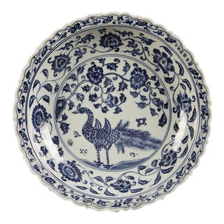Large Chinese Blue and White Glazed Bowl with a Peacock