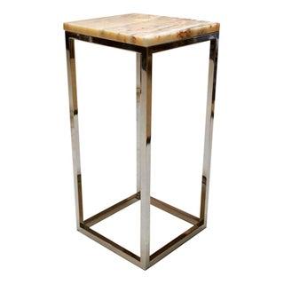 Milo Baughman Chrome & Marble Pedestal