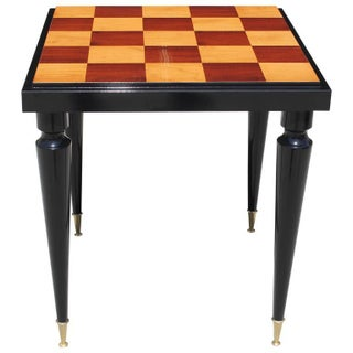 French Art Deco Black Lacquer Game Table