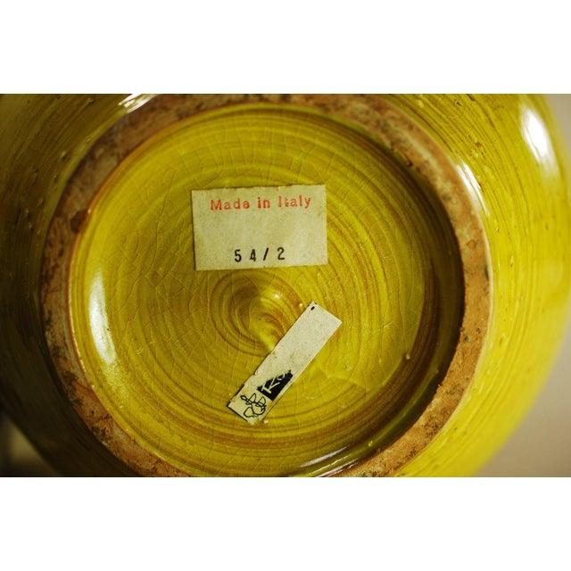 Mid Mod Bitossi Aldo Londi Yellow Pottery Vase - Image 6 of 8