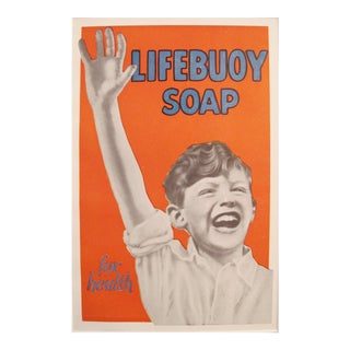 1920s Vintage Art Deco Mini Poster, Lifebuoy Soap
