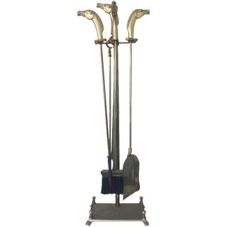 Brass Equestrian Fireplace Tools - 5