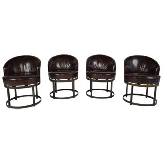Vintage Art Deco Style Leather Accent Chairs - Set of 4