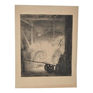 "1904 Vintage ""Chinese Foundry Workers"" Fine Art Etching"