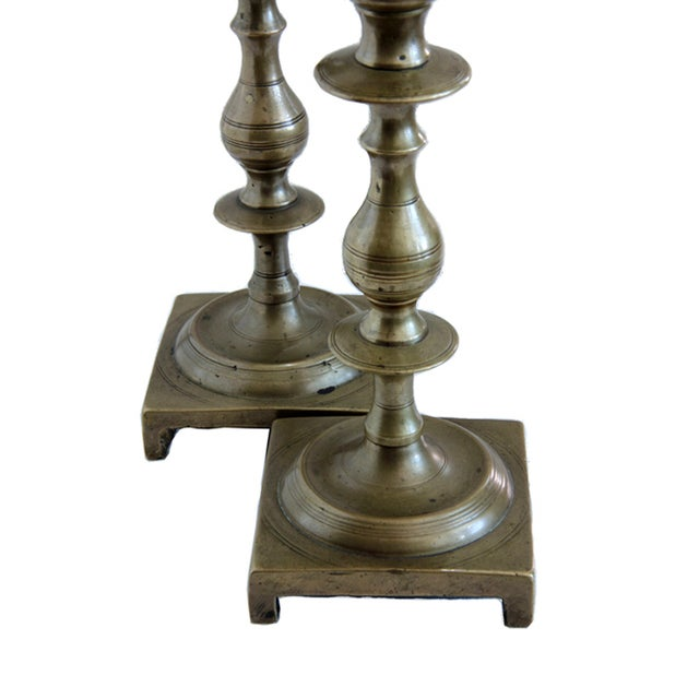 19th Century Russian Brass Candlesticks- a Pair - Image 2 of 5
