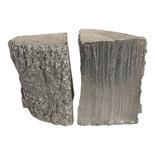 Silver Leaf Alpine Wood Bookends - A Pair
