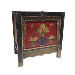 Antique Mongolian Storage Chest Hand Painted Tibetan Console