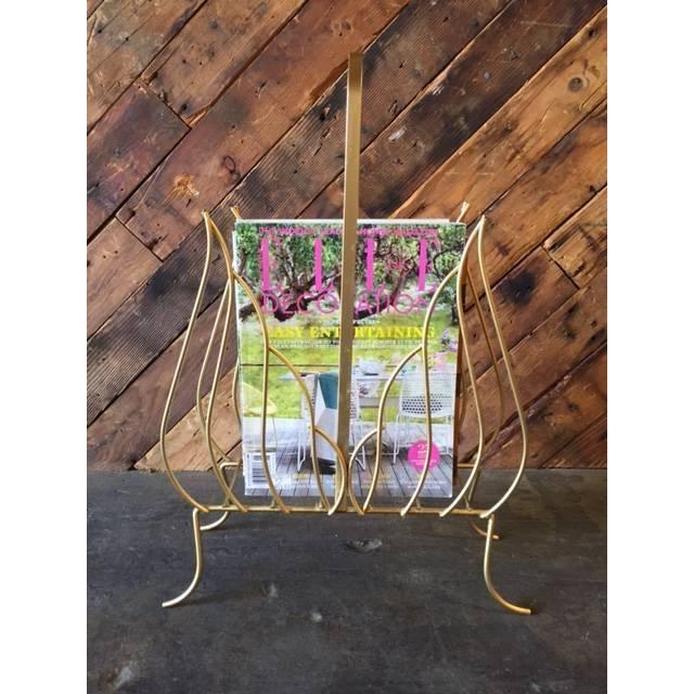 Image of Vintage Gold Painted Floral Motif Magazine Rack