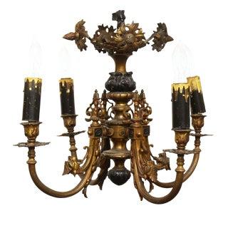 Brass & Black Floral Chandelier