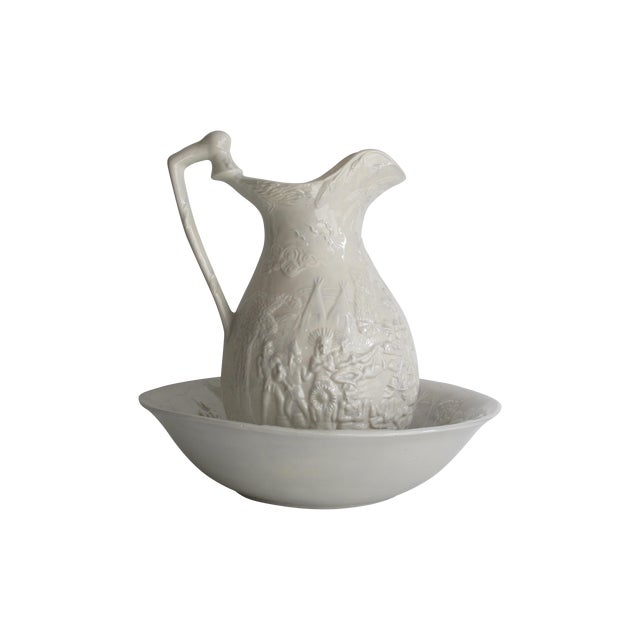 American White Ceramic Wash Basin & Pitcher - Image 1 of 8